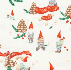 Gnomes In The Snow - Cool Retro Christmas Fabric By Alexander Henry - Vintage…