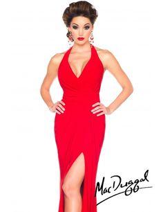 Mac Duggal 61721R Dress - Halter ruched waist evening dress with side slit by Mac Duggal Black White Red #prom2015 #macduggal #macktak #redcarpet #redcarpetlooks #terani #fashion