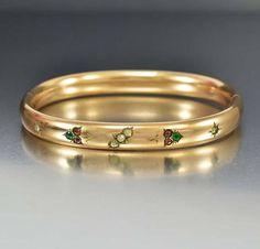 ON HOLD Amethyst Crystal Antique Gold Filled Bangle Bracelet