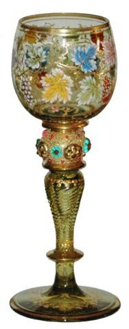 Moser Grape Leaf applied Bead Green Glass Goblet : Lot 355