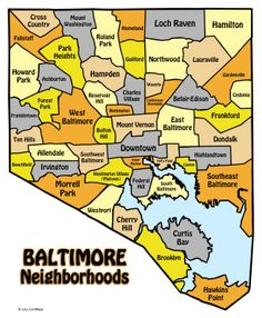 Map of Baltimore neighborhoods. I grew up in Dundalk/Southeast.