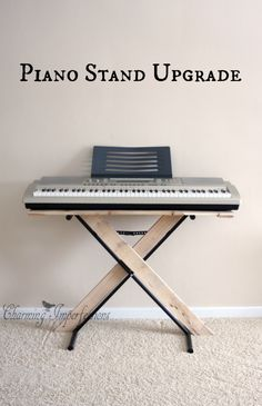 Upgrade a basic metal piano stand by adding some pallet charm. Such a cheap and easy fix!