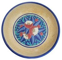 LONGWY French Art Deco Ceramic Footed Bowl, made in the period beteween 1925-1930 by Emaux de Longwy in Longwy, France. The foot of the bowl is in a cobalt blue enamel, while the outer body and interior sides are in a yellow craqueleure. The center rondel shows a flower and foliate design in 6 colors of fired enamel. The bottom has the Longwy seal and various numbers.