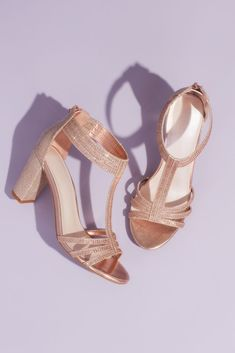 Complete your bridal look with the perfect wedding shoes at David's Bridal. Our bridal shoes include wedding & bridesmaid shoes in various styles & colors. Rose Gold Shoes Heels, Rose Gold Block Heels, Rose Gold Wedding Shoes, Gold Bridal Shoes, Best Bridal Shoes, Wedding Shoes Bride, Rose Gold Glitter Heels, Bridal Heels, Glitter Dress