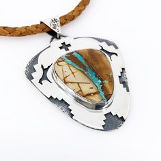 Royston Ribbon Turquoise Silver Overlay Pendant with horse detail and braided leather. Graphic Patterns, Braided Leather, Handcrafted Jewelry, Overlay, Cuff Bracelets, Silver Jewelry, Gemstone Rings, Ribbon, Horse