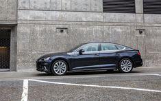 Download wallpapers Audi A5 Sportback, 2018, 4k, side view, blue A5, business class, German cars, Audi