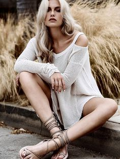 NWT Free People cream Moonshine Open Shoulder Long Sleeve Swing Thermal Top L…
