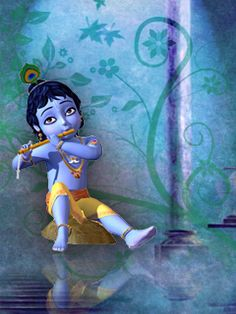 .Sri Krishna the basooriwala. .Little Krishna and his flute.