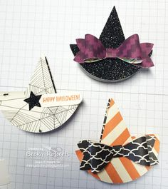 """10-24-15= They're made with a Stampin' Up! clothespin, two Christmas Tree punches and a 2-1/2"""" Circle with a 1"""" Circle inside. Add a Bow punch to accessorize."""