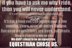 If you have to ask me why I ride, then you will never understand. So true. A non-horse person can never understand horse people.