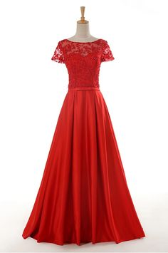 Red lace appliques gorgeous prom dress