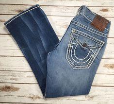 c108c6baf Mens True Religion Jeans Ricky Straight Leg Flap Thick Stitch Distressed 31  X 29  TrueReligion