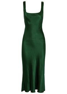 Green Satin Dress, Satin Midi Dress, Satin Dresses, Gowns, Pretty Outfits, Pretty Dresses, Mode Outfits, Fashion Outfits, Looks Vintage
