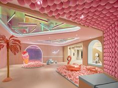 The extraordinary Boguanxi'an Sales Center Decoration , Design & Travel An out-of-the-box real estate sales center filled with pastel colors in Weifang, China. - The extraordinary Boguanxi'an Sales Center Cafe Design, Store Design, House Design, Design Design, Cafe Interior, Interior And Exterior, 1980s Interior, Retail Interior, Vitrine Design