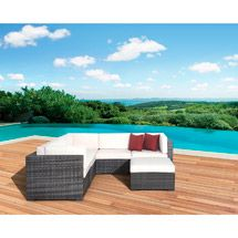 Walmart: Atlantic Aventura 6-Piece Outdoor Sofa Sectional, Gray with Off White Cushions