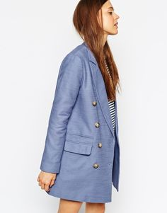 Asos COLLECTION Pea Coat With Double Breasted Detail