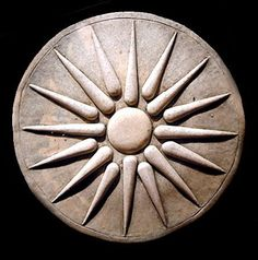 Item No. 074   Weight: 2 lbs (0.9 kg).   Dimensions: Diameter 7.25   Depth 0.5   (18cm x 1cm).    Made of cast stone and hand-finished in antique fini
