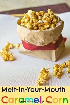 Melt-In-Your-Mouth Caramel Corn {Tastes of Lizzy T} This caramel corn is so easy and very addicting! http://www.tastesoflizzyt.com/2013/05/22/melt-in-your-mouth-caramel-corn/