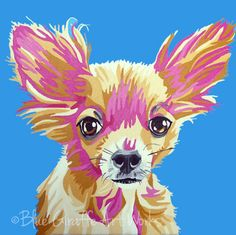 12x12 Custom Pet Portraits that POP- Hand-painted in acrylic on canvas- FREE SHIPPING. $150.00, via Etsy.