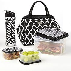 Signature Collection Sydney Designer Bag with Matching Lunch Set (Black & White Ikat Tile)