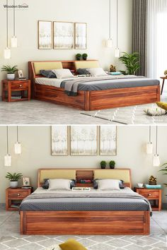 Walken bed with storage is very convenient furniture to invite in the bedroom. Firstly, it is contemporary furniture design. Secondly, the backrest has two drop-down drawers, and each of those has an upholstered panel for more comfort. Wooden Bed With Storage, Bed Storage, Bedroom Furniture Design, Bed Furniture, Box Bed Design, Bed Backrest, Pop False Ceiling Design, Wooden Street, Kitchen Organisation
