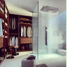 A walk in closet, with a shower so that I don't have to go far for a new outfit. The shower filled with nexxus shampoo and conditioner and the best razors I could find.
