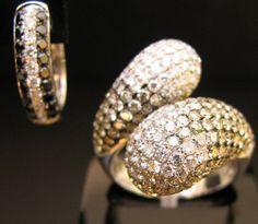 Anel de diamantes e brinco de diamantes brancos e negros