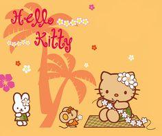 Hawai'i Hello Kitty making leis. Hello Kitty Outfit, Hello Kitty Makeup, Hello Kitty Clothes, Hello Kitty Art, Hello Kitty My Melody, Hello Kitty Themes, Hello Kitty Pictures, Kitty Images, Hello Kitty Clipart