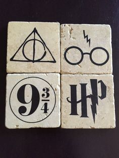 We love Harry Potter! This set of coasters is designed around some symbols from the Harry Potter series. There are: the glasses and lightning