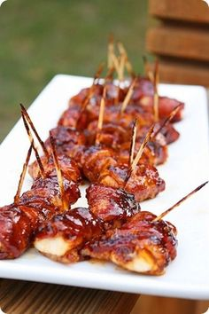 BBQ Chicken-Bacon Bites, - pretty good. Didn't find recipe with link, but just cut chicken breasts in strips, wrapped in bacon, and basted with bbq sauce as it was being grilled.