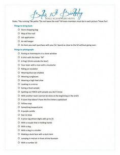 Epic InstaGram Scavenger Hunt list So much fun for