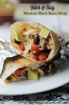 Quick and Easy Mexican Black Bean Wrap- just like Chipotle! One of my favorite go to meals for busy weeknights. (Use whole wheat wraps, brown rice) Mexican Dishes, Mexican Food Recipes, Vegetarian Recipes, Cooking Recipes, Healthy Recipes, Vegetarian Mexican, Great Recipes, Dinner Recipes, Favorite Recipes