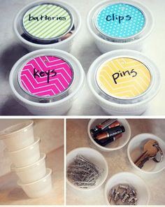 Upcycled Dip Container Organizers | 32 DIY Storage Ideas for Small Spaces | DIY Organization Ideas for Small Spaces