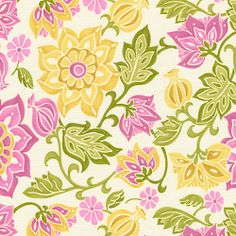 $8/yard    babybedding.com    Part of the Eden collection, Eve's Garden features a stunning floral design with exquisite shades of pink and lime greens blended with goldenrod.