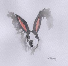 Pongo - Dalmatian Rex rabbit watercolour