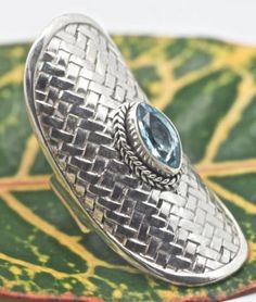 Handmade-Sterling-Silver-925-Bali-Long-Weave-Ring-w-Marquise-Blue-Topaz-Gem