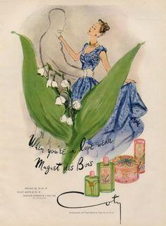 Coty Perfumes 1947 Muguet des Bois Vintage advert Perfumes illustrated by Eric (Carl Erickson) | Hprints.com