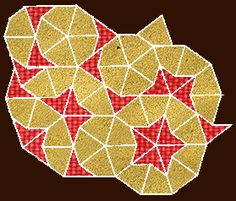 Penrose tiling with kites and darts, applying phi, the golden proportion, in five-fold symmetry