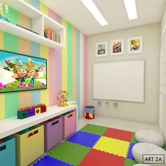 Daycare Design, Playroom Design, Playroom Decor, Kids Decor, Kids Bedroom Designs, Boys Bedroom Decor, Baby Room Decor, Decoration Creche, Kindergarten Interior