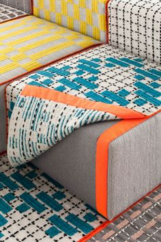 Bandas is a collection of modular, embroidered components, like chairs, poufs, rugs, and pillows, that let you mix and match and design your own space.