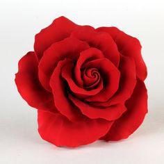 Red Gumpaste English Roses handmade cake decoration and cake topper perfect for any fondant wedding cake or fondant birthday cake.