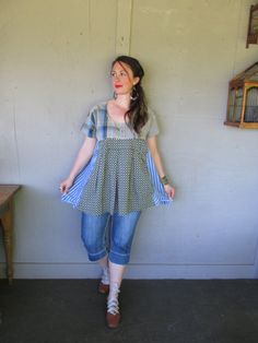 Prairie tunic dress upcycled clothing by lillienoradrygoods