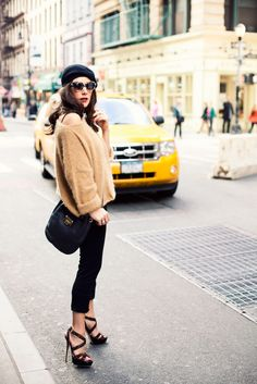 Girls night out in sky high Jimmy Choo leopard platforms & leather cross body    {vintage beret, Juicy Couture angora sweater, Kenneth Cole skinny pant & Lumete sunglasses}