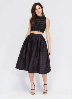 Everlasting Blooms Pleated Flared Skirt BLACK - GoJane.com