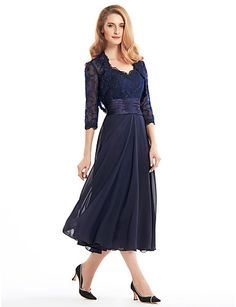 Dark Navy Blue Chiffon Mother of the Bride Dress @ Mother of the Bride / Groom Dresses Blog