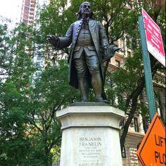 New York, NY.  Benjamin Franklin Statue.