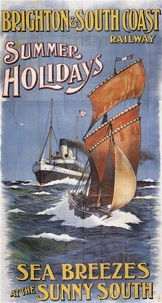 Vintage Brighton & South Coast Railway Poster: Summer Holidays, Sea Breezes at the sunny South
