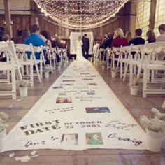 "Wedding aisle idea - photo/text journey from first date to ""I do"". Unique aisle runner for wedding aisle. Perfect Wedding, Dream Wedding, Wedding Day, Trendy Wedding, Wedding Vows, Wedding Photos, Wedding Simple, Wedding Dresses, Wedding Stuff"