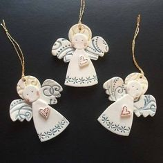 New No Cost clay ornaments angel Thoughts Ceramic Christmas Angels not available for sale anymore, but might be a fun idea of a craft to make Clay Christmas Decorations, Polymer Clay Christmas, Christmas Ornament Crafts, Christmas Angels, Xmas, Christmas Christmas, Clay Angel, Pottery Angels, Diy Angels