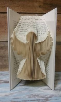 Items similar to Angel Folded Book Art on Etsy Folded Book Art, Paper Book, Paper Art, Book Crafts, Paper Crafts, Book Folding Patterns Free, Paper Folding, Altered Books, Book Pages